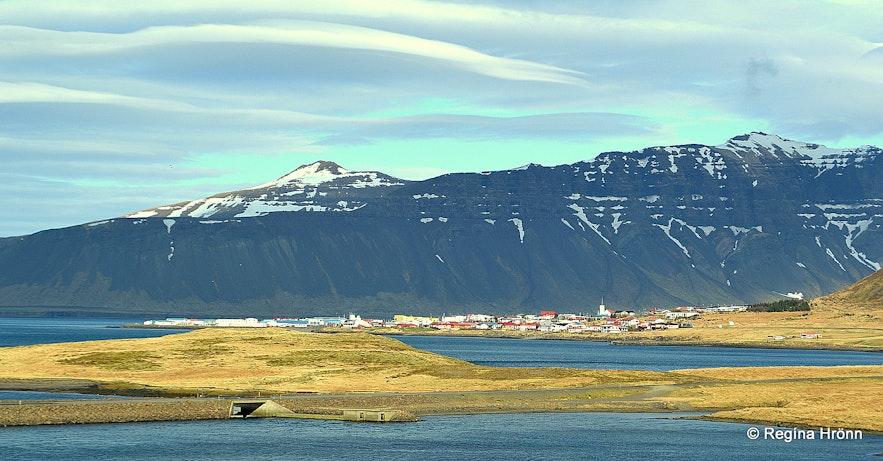 Grundarfjörður in the distance as seen from Kirkjufellsfoss waterfall.
