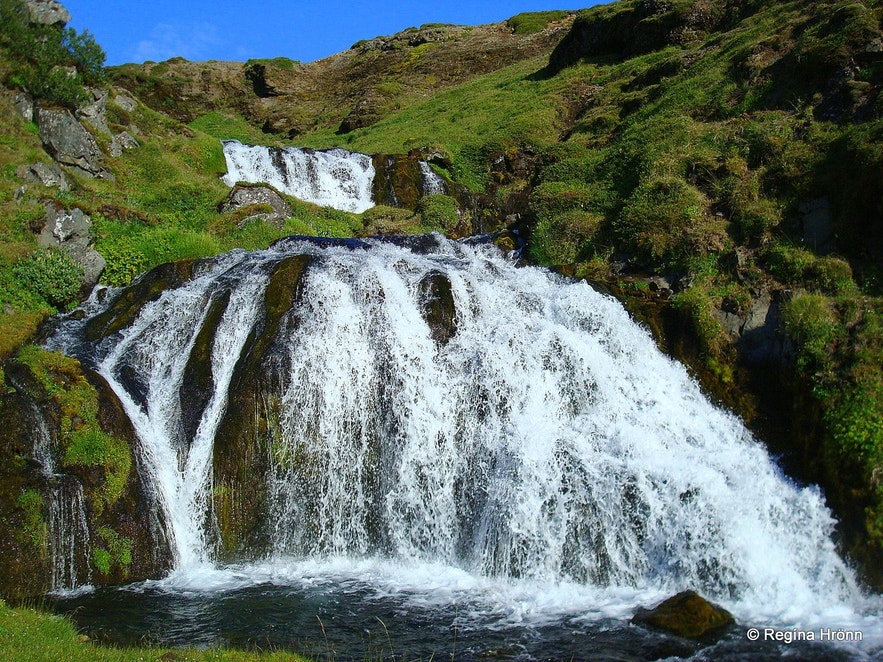 Waterfalls in Fossá river on the Vatnaleið route