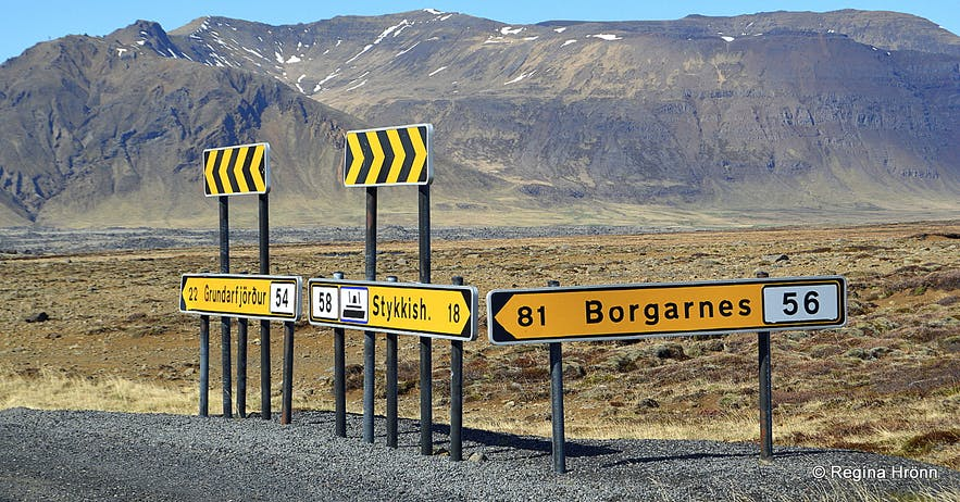 Road signs on the Snæfellsnes peninsula