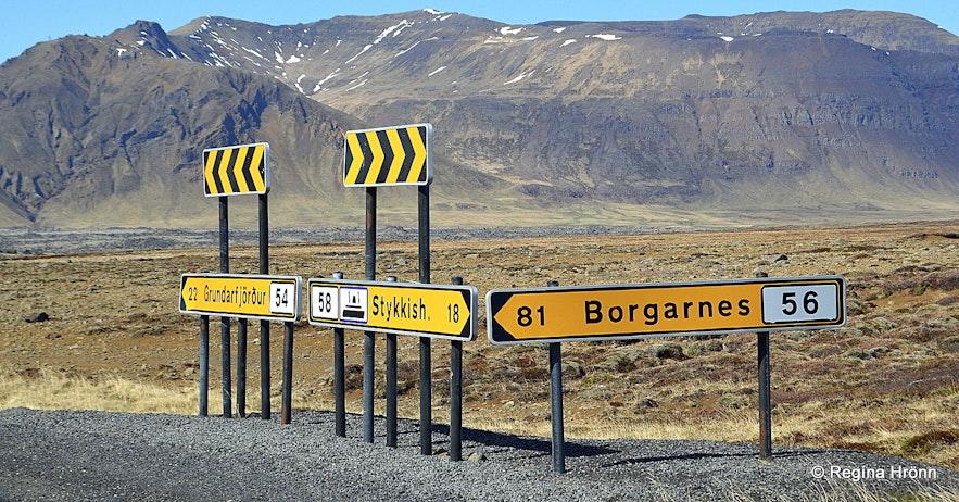 Road signs on the Snæfellsnes peninsula