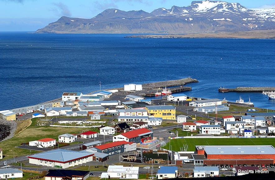 Ólafsvík Village & the Bridal Veil Bæjarfoss Falls on Snæfellsnes Peninsula