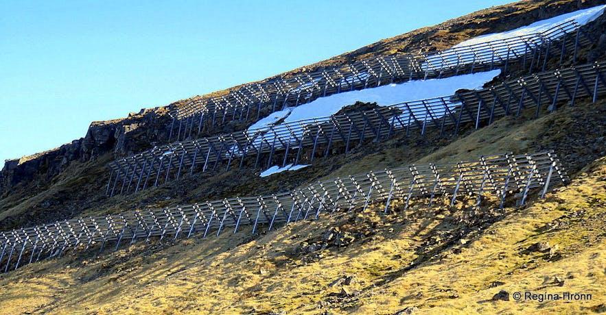 Avalanche barriers above Ólafsvík village