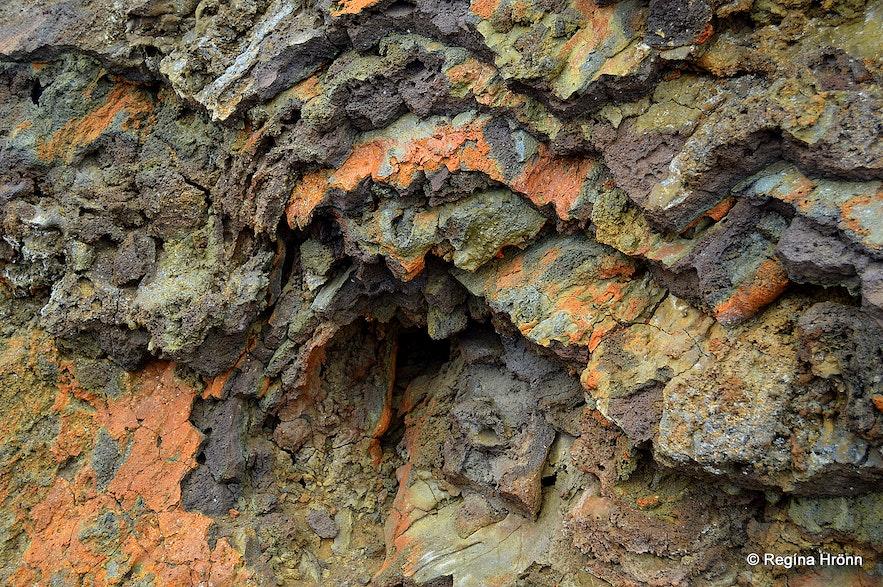Colourful lava at Eldborg crater