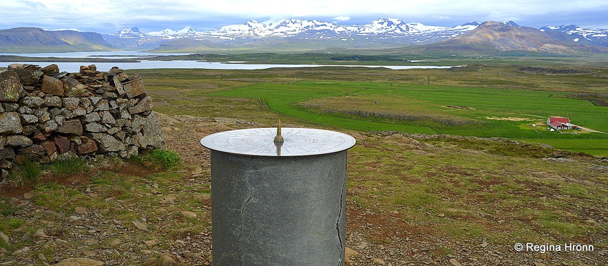 The view-dial on top of Mt. Helgafell Snæfellsnes