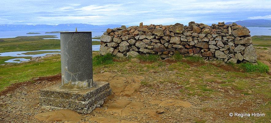 The view-dial on top of Mt. Helgafell, Snæfellsnes
