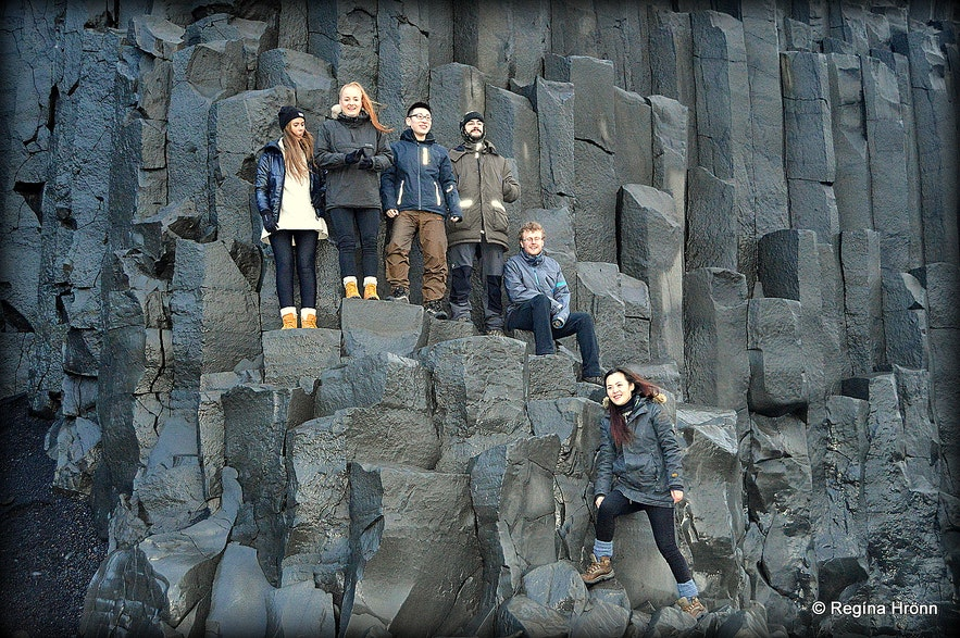 The staff at Guide to Iceland visiting Reynisfjara beach