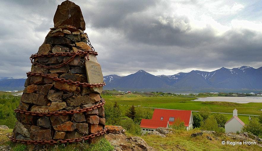 The Saga of Egill - the cairn at Borg á Mýrum in West-Iceland