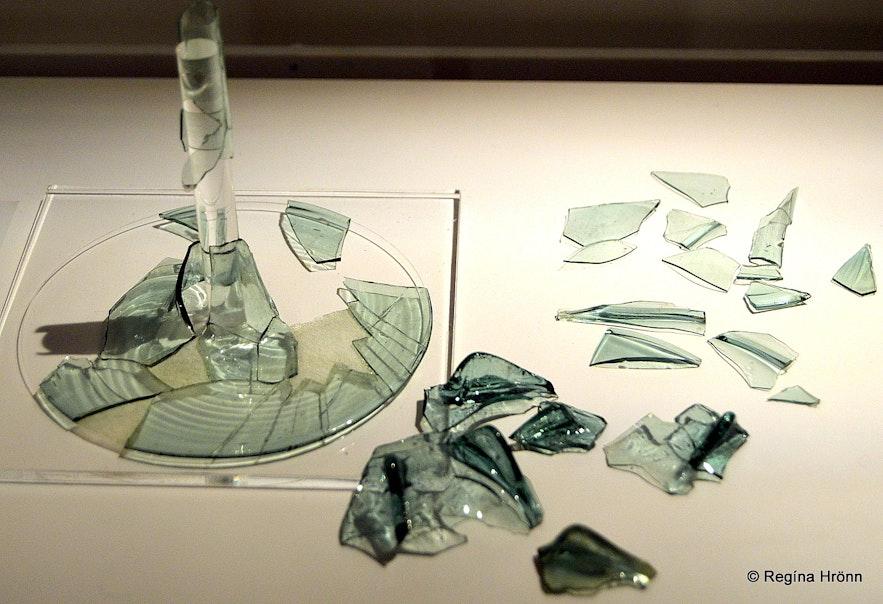 A broken beaker made of glass at Snorrastofa