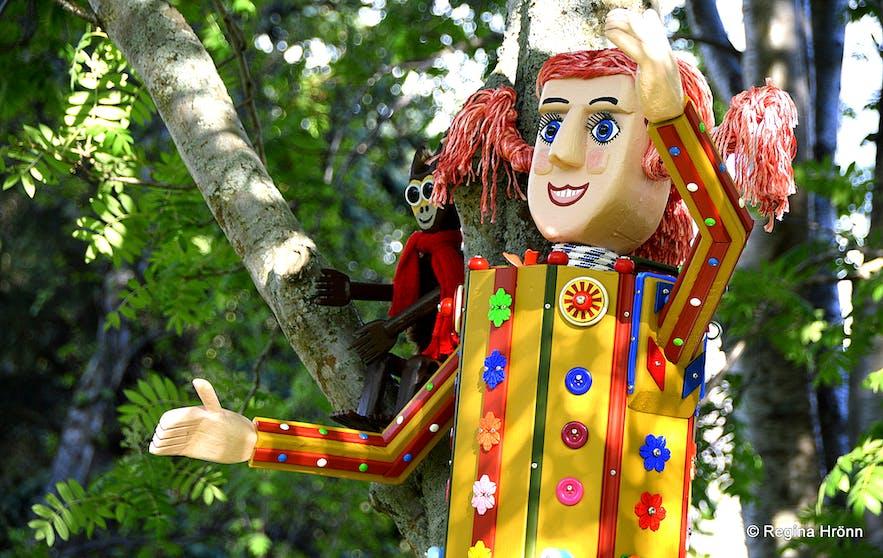 Colourful fairytale figures in Akureyri town
