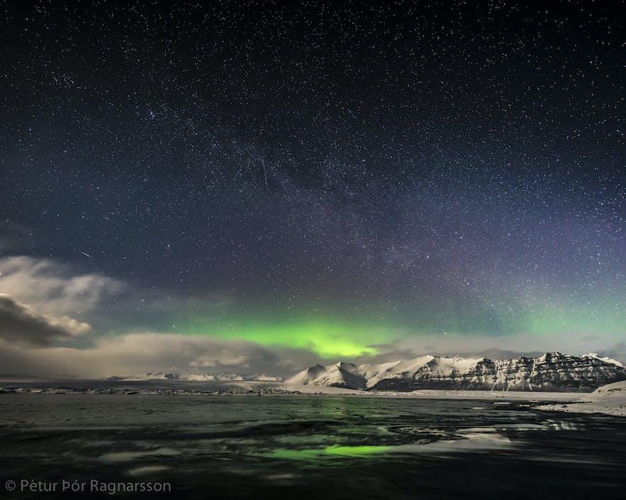 Northern Lights over Vatnajökull glacier near Skaftafell National Reserve