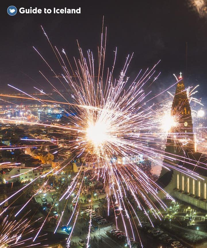 Fireworks above Hallgrimskirkja church in Reykjavik