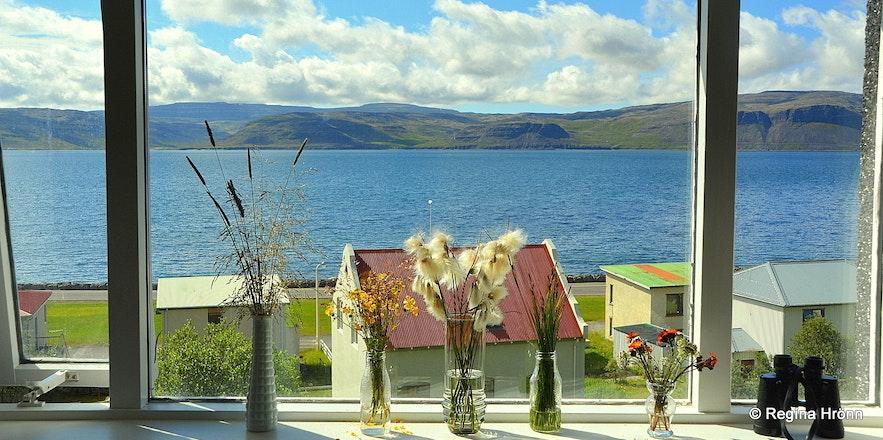 The view of Patreksfjörður from the window of Hotel Ráðagerði