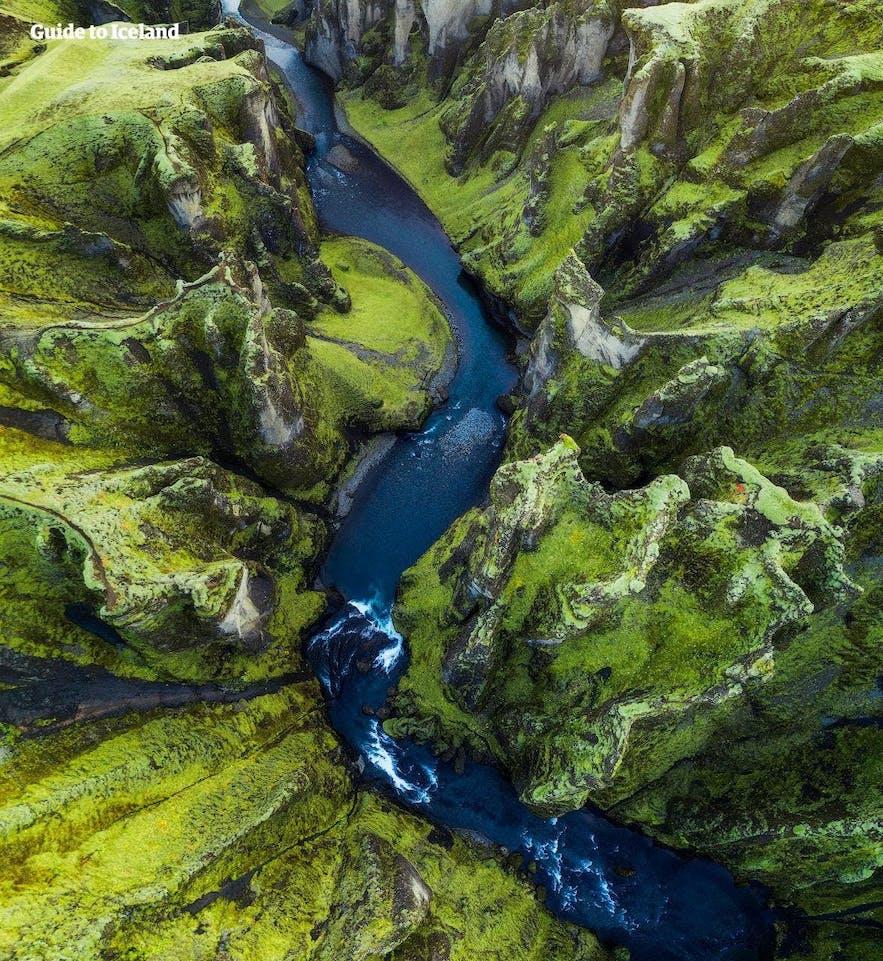 Fjaðrárgljúfur canyon from above