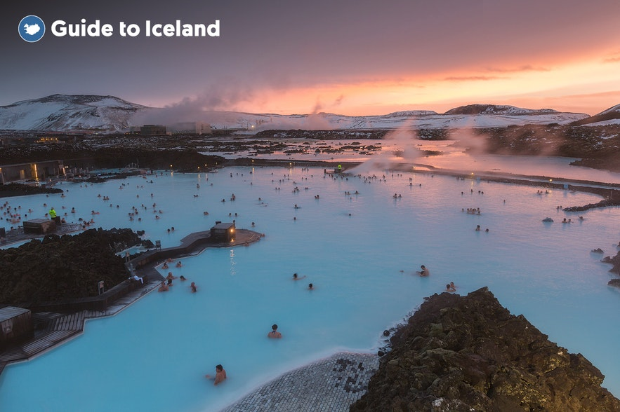 The Blue Lagoon at Sunset in Winter