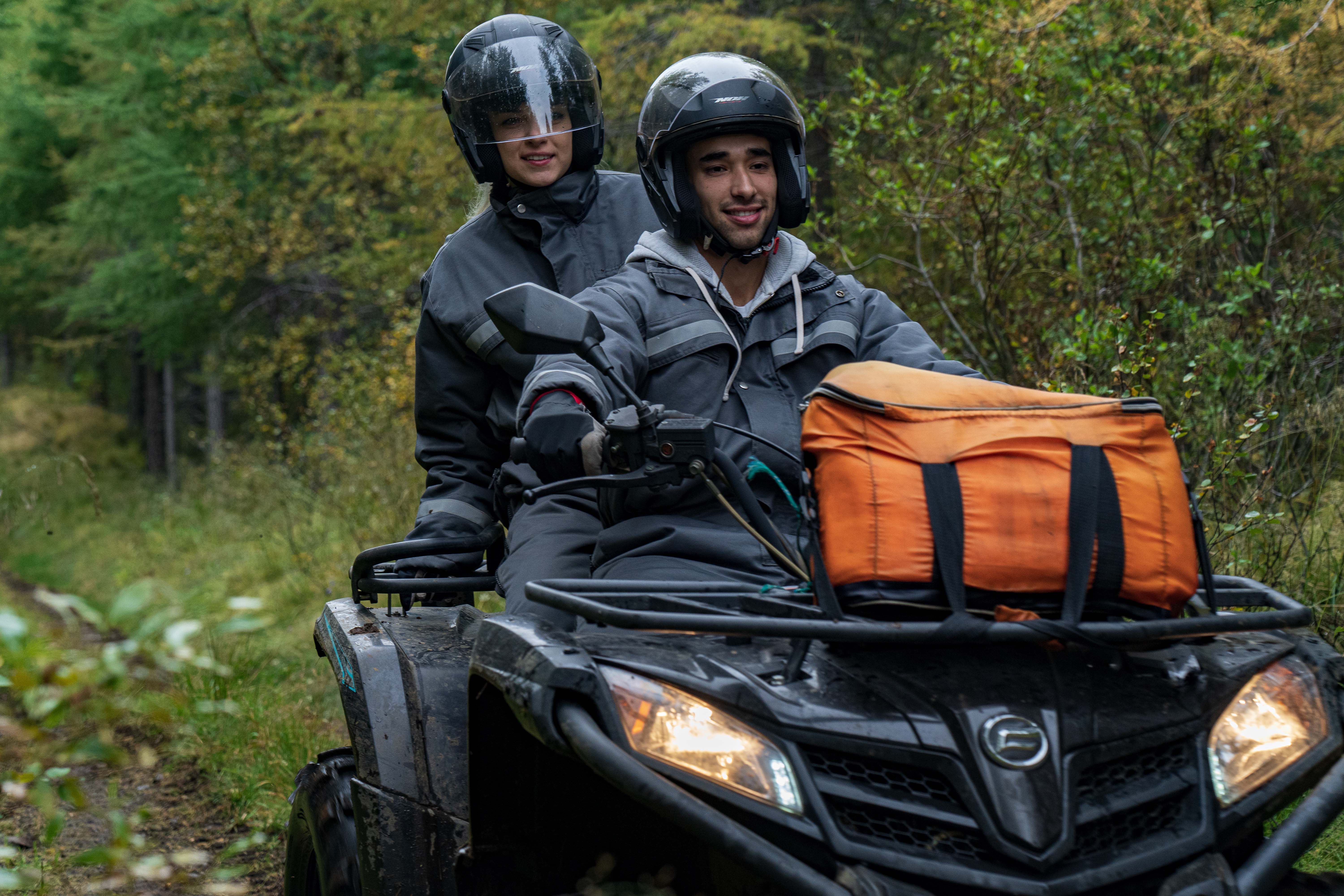 Two people on an ATV in Iceland