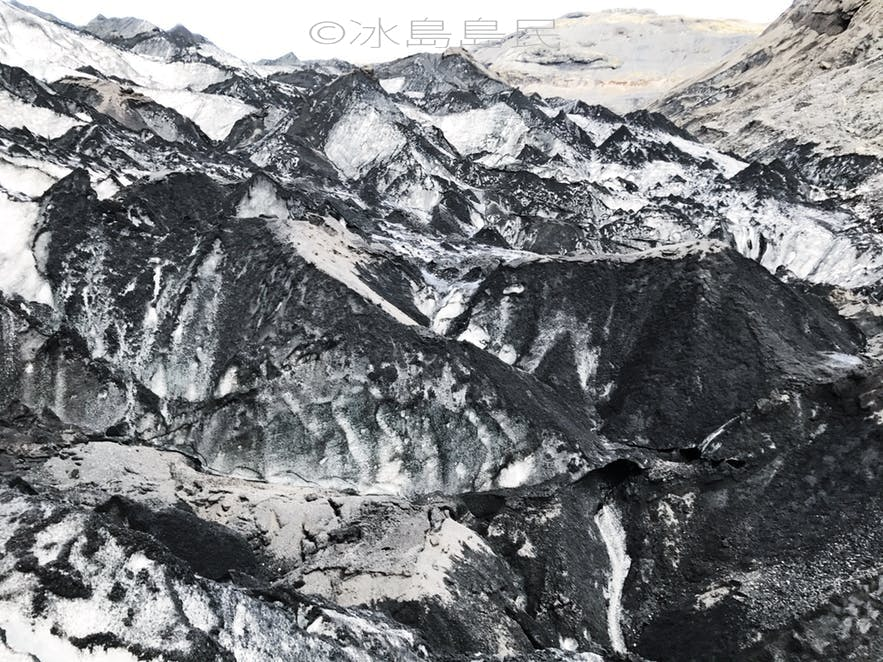 索爾黑馬冰川混合了火山灰