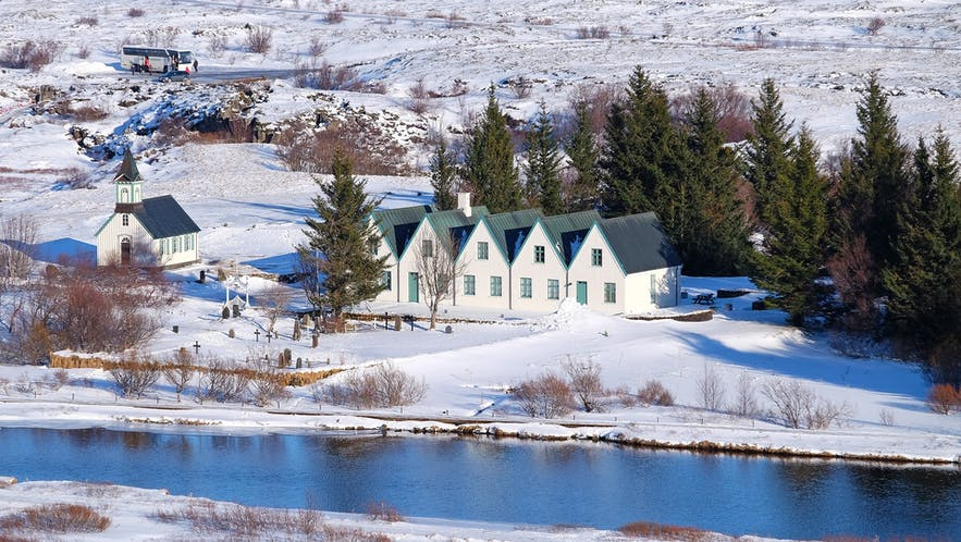 The church at Thingvellir surrounded by a snowy landscape