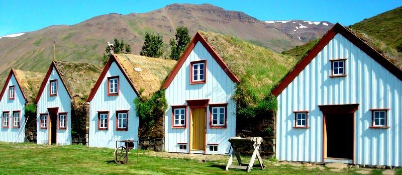 The Beautiful Laufás Turf House in Eyjafjörður in North-Iceland