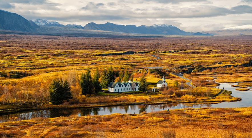 Thingvellir in Autumn with colourful trees and landscape