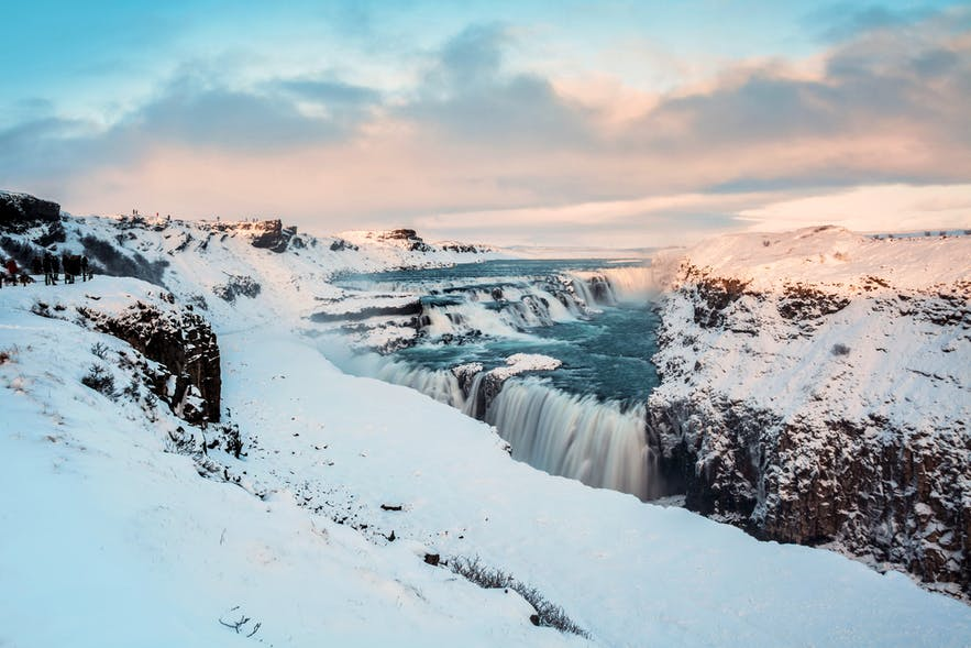 Gullfoss waterfall in Iceland's Golden Circle during Winter