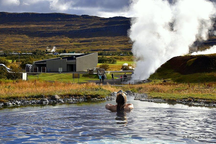 Regína soaking in Krauma spa by Deildartunguhver hot spring
