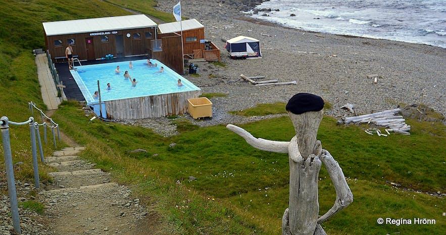 Krossneslaug swimming pool at Strandir in the Westfjords of Iceland