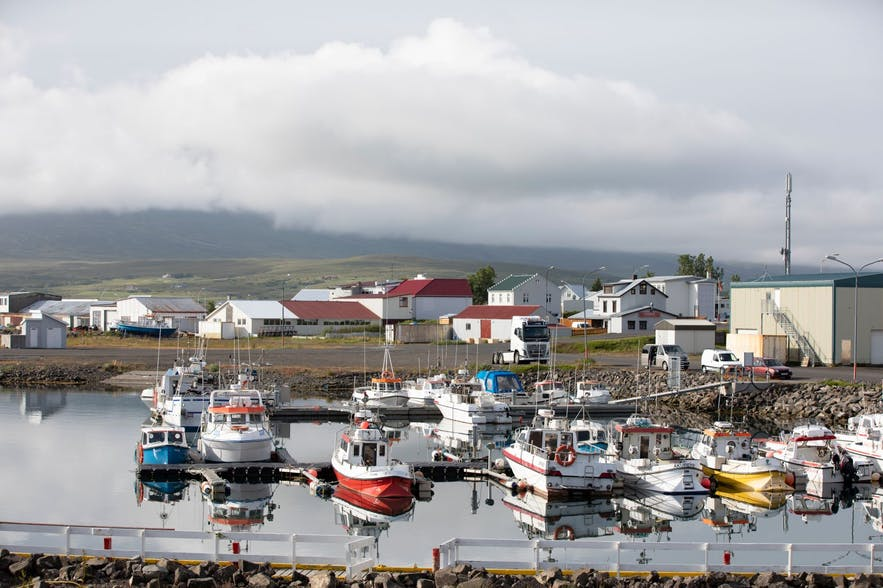 The harbour in Dalvik with fishing boats in the foreground