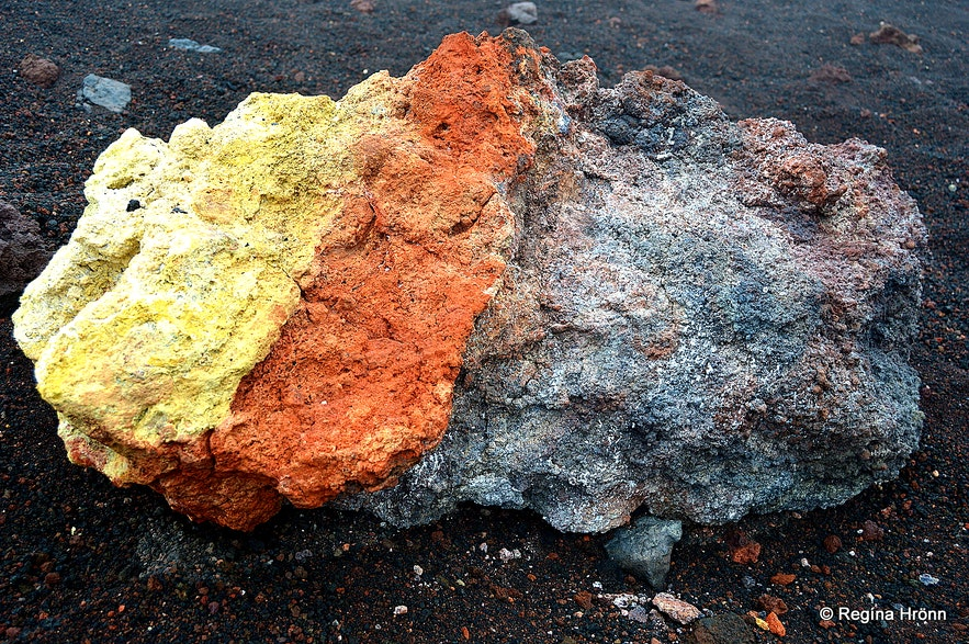 Colourful lava by Mt. Eldfell