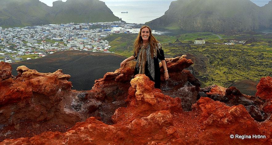 Regina on top of Eldfell volcano Westman islands