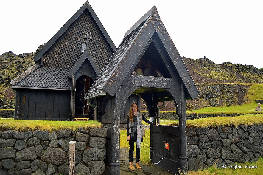 Regína by the the stave church in the Westman islands