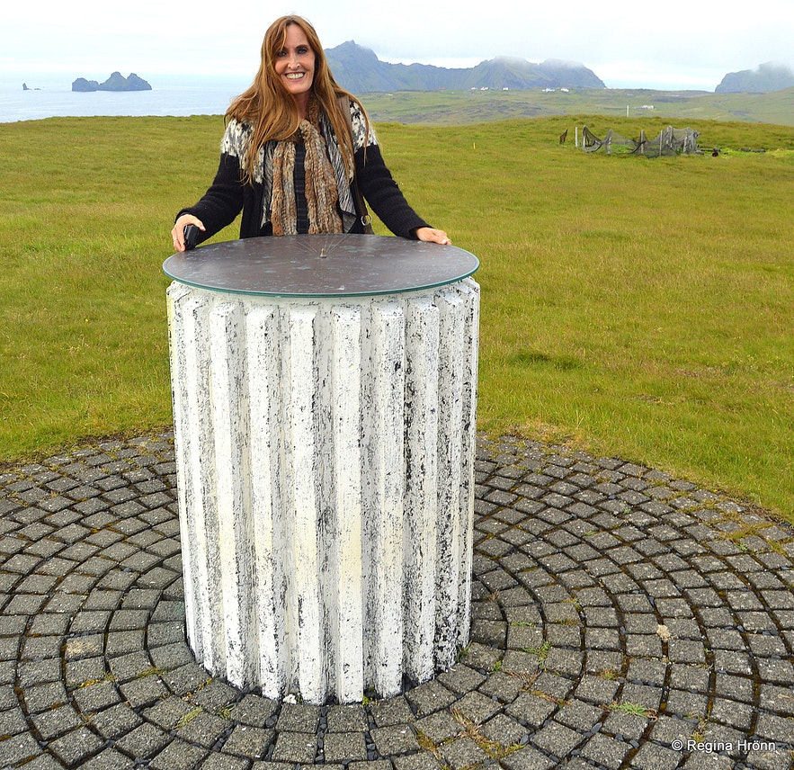 Westman Islands South-Iceland - Regína by the view-dial at Stórhöfði cape