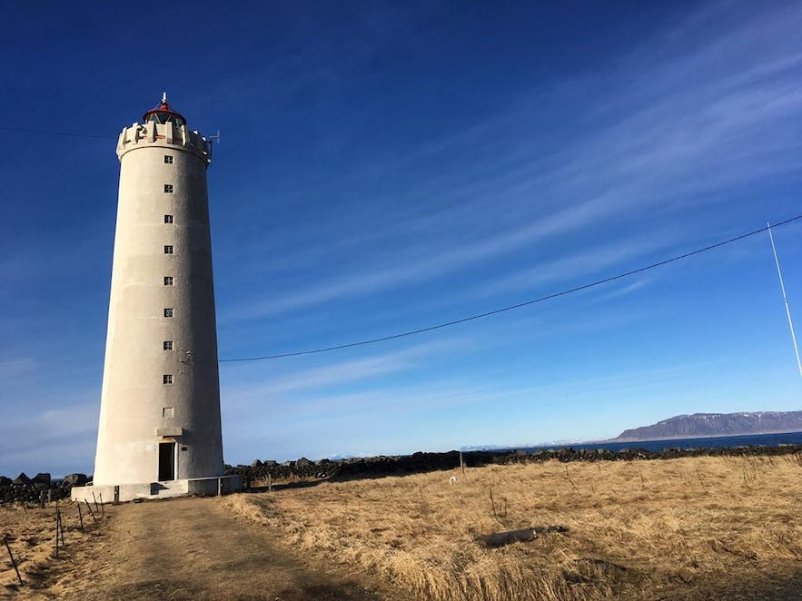 Grotta lighthouse is an iconic feature on the Seltjarnes peninsula in Reykjavik