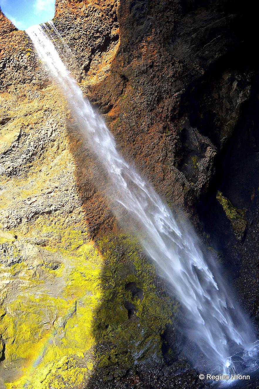 Remundargilsfoss waterfall in Remundargil canyon South-Iceland