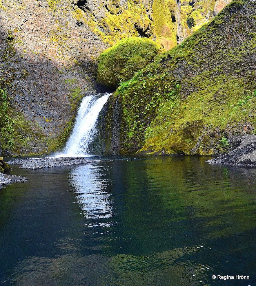 A waterfall in Þakgil canyon