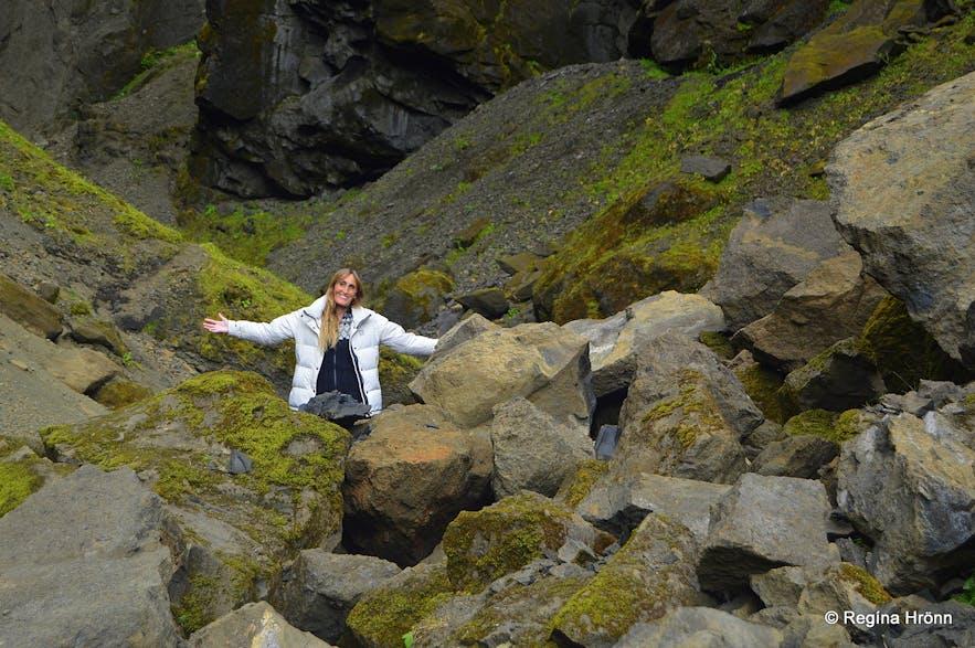 Regína hiking in Remundargil canyon South-Iceland