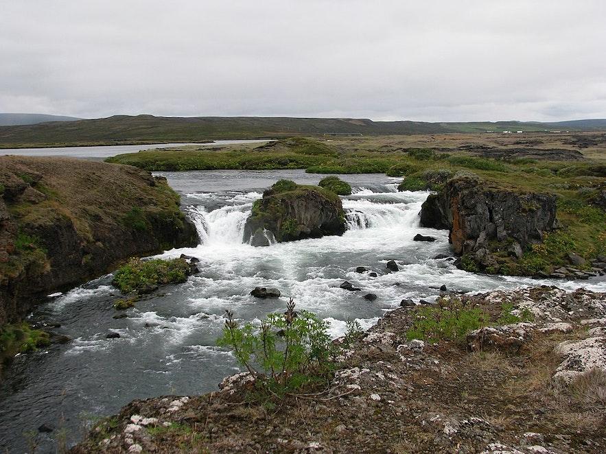 冰岛北部胡萨维克附近的欧绒鸭瀑布Æðarfossar