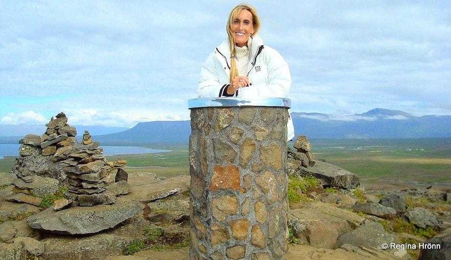Regína by the view-dial on top of Borgarvirki