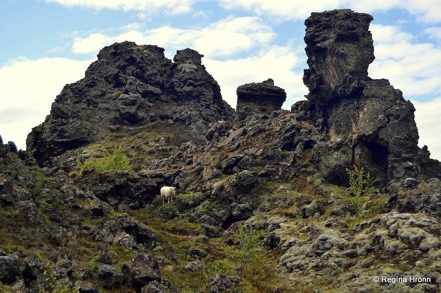 冰岛北部钻石圈景区的黑暗城堡熔岩群