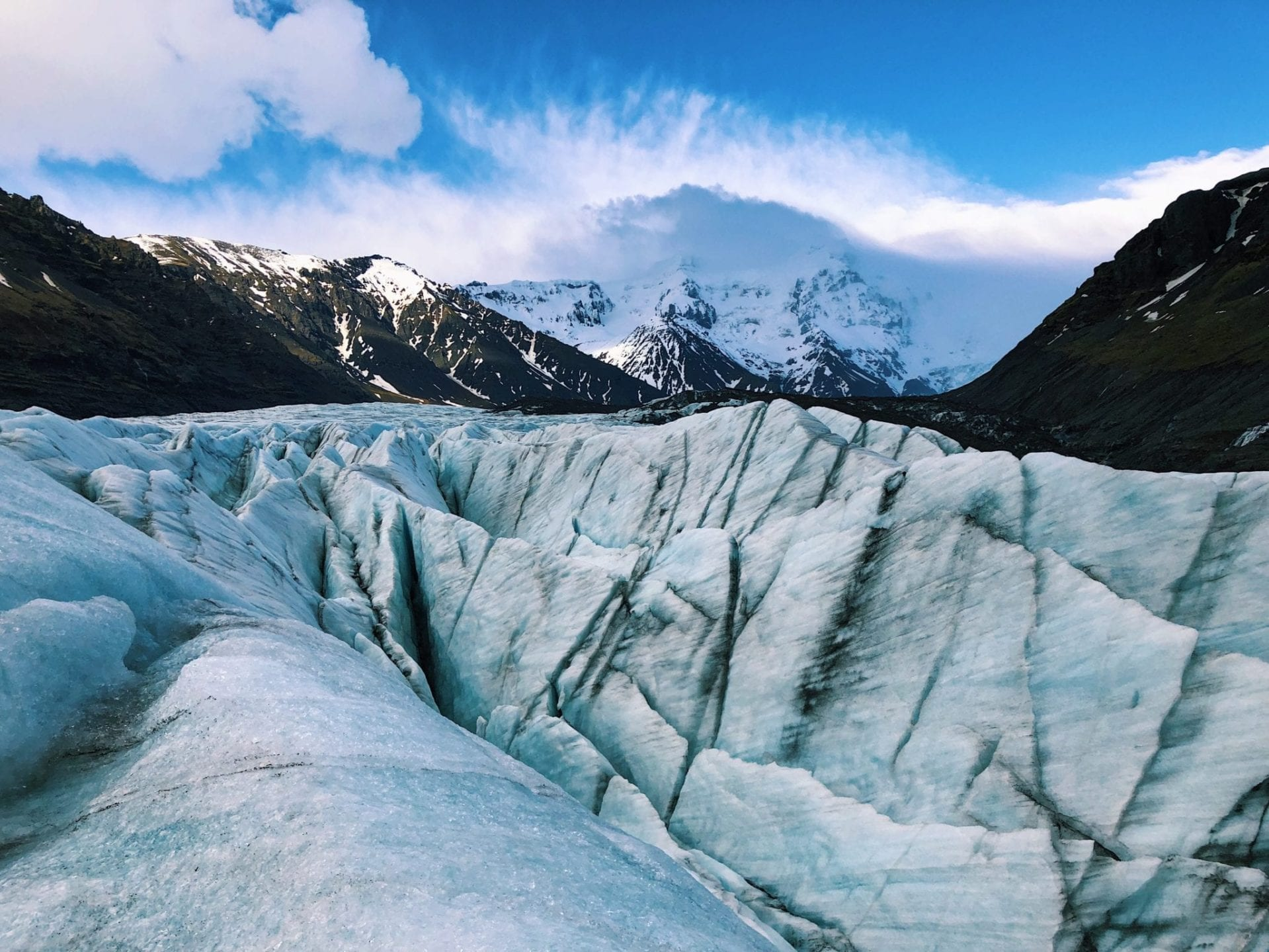 The icy crust of the glacier at Skaftafell.