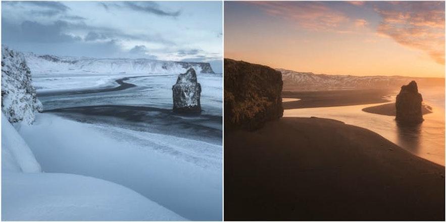 冰岛冬季与夏季的黑沙滩对比