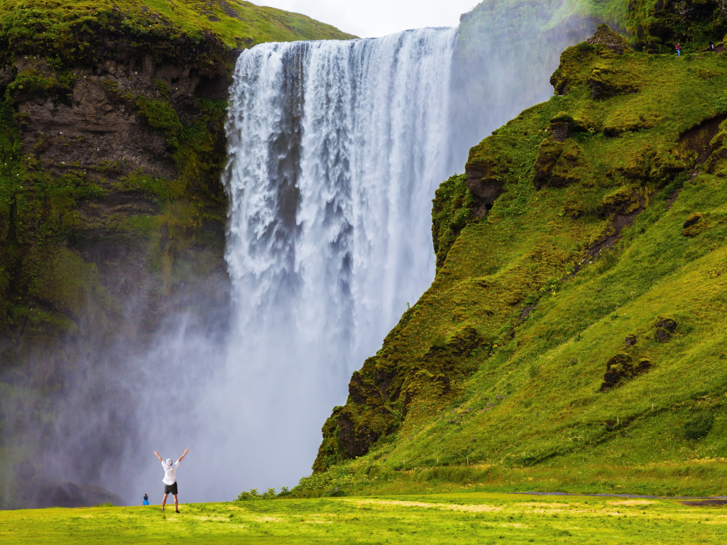 Skogafoss waterfall in the summer months