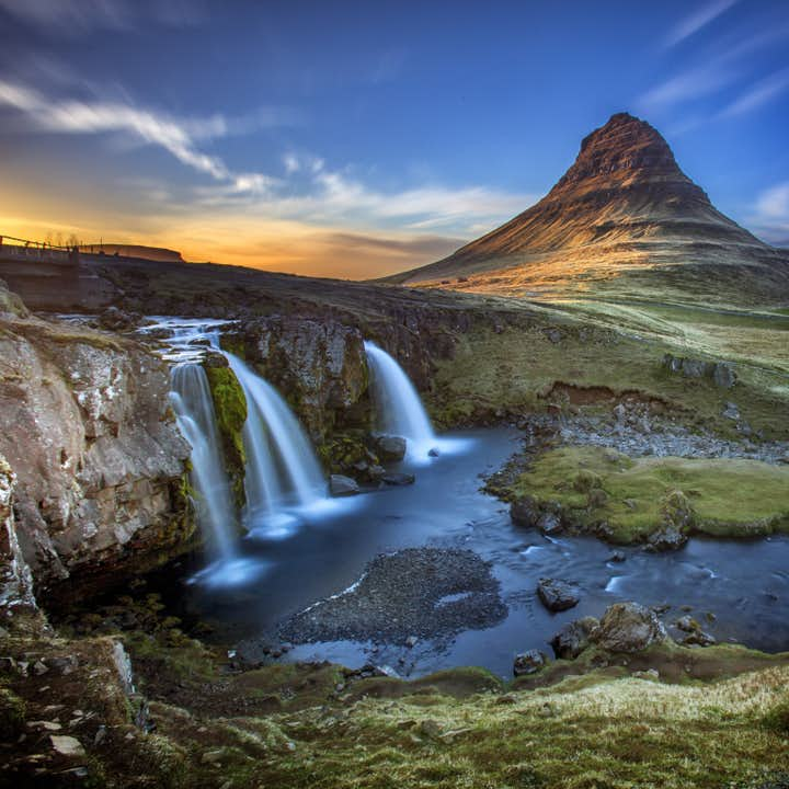 Kirkjufell and Kirkjufellsfoss waterfall located on Snaefellsnes peninsula