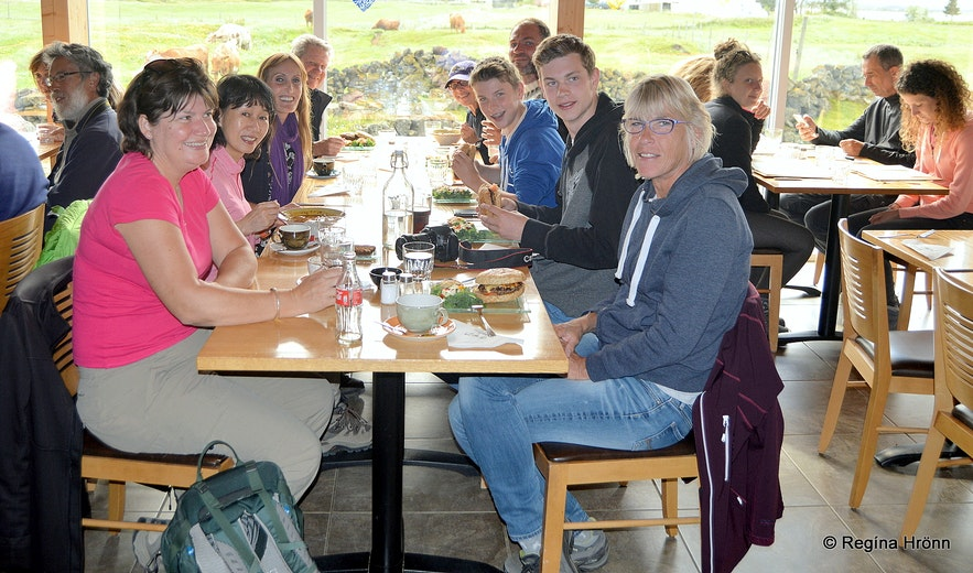 Having lunch with the group at Vogafjós