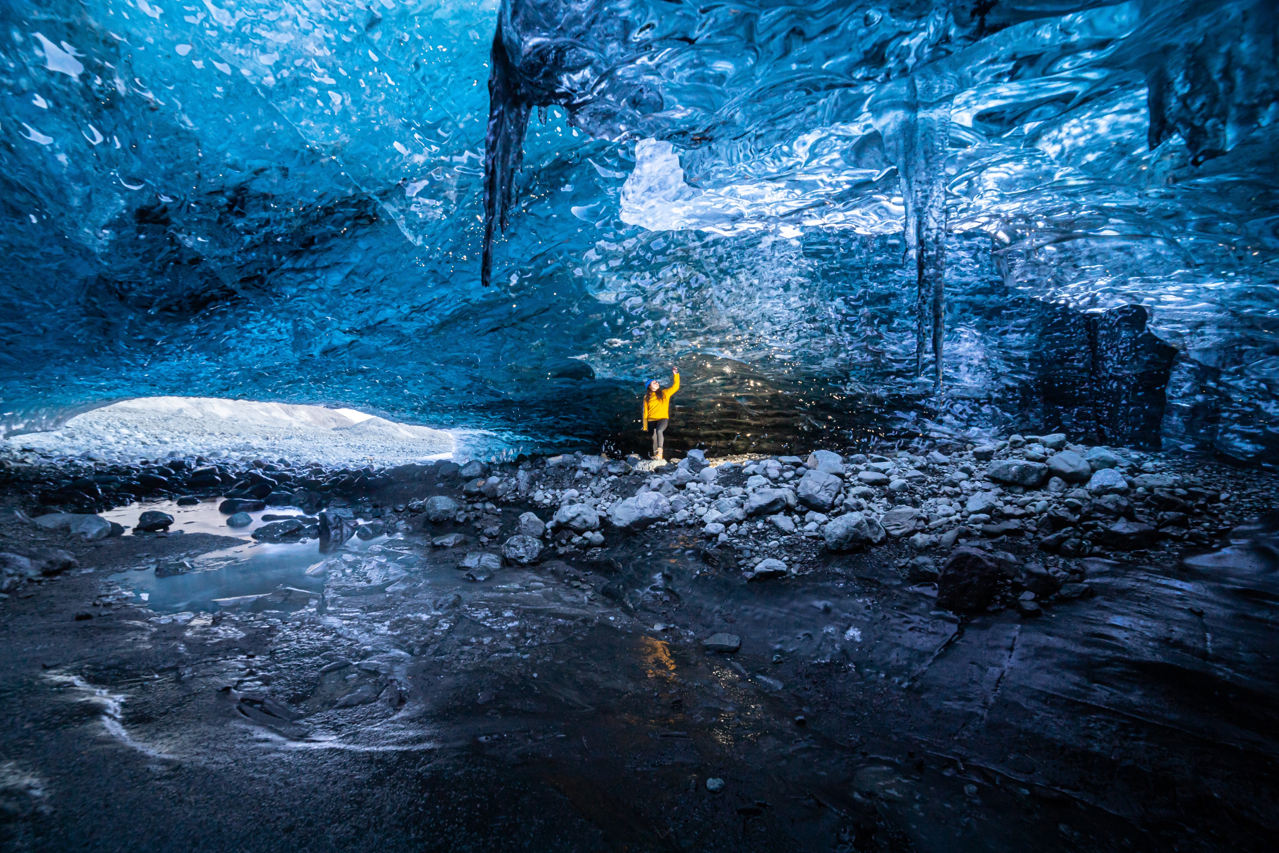 The Crystal Ice Cave in Iceland