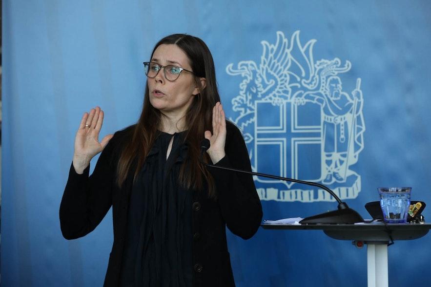 Iceland's Prime Minister Katrin Jakobsdottir at a press conference on COVID19