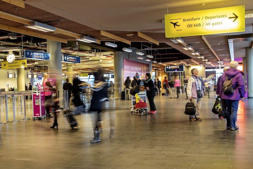 Travellers at Keflavik Airport