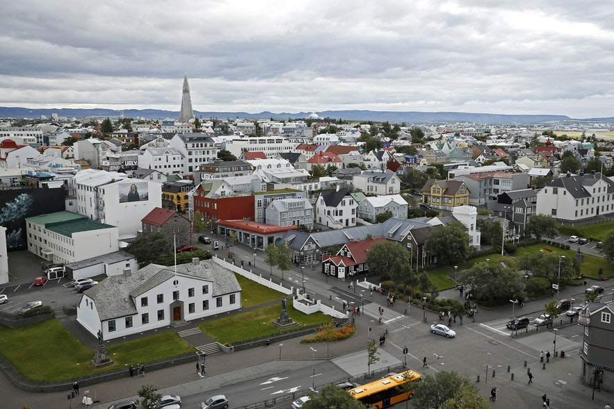 An overhead shot of downtown Reykjavik during social distancing.