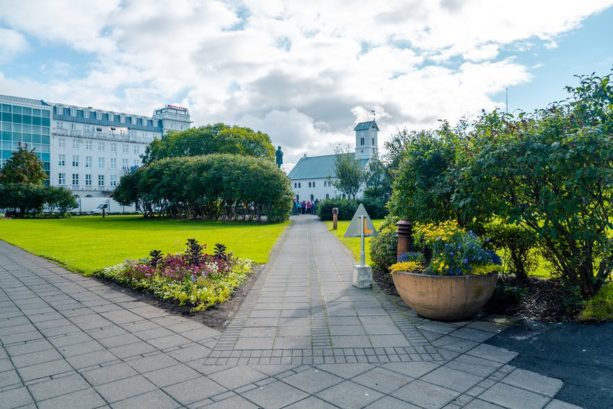 Austurvollur square in Reykjavik
