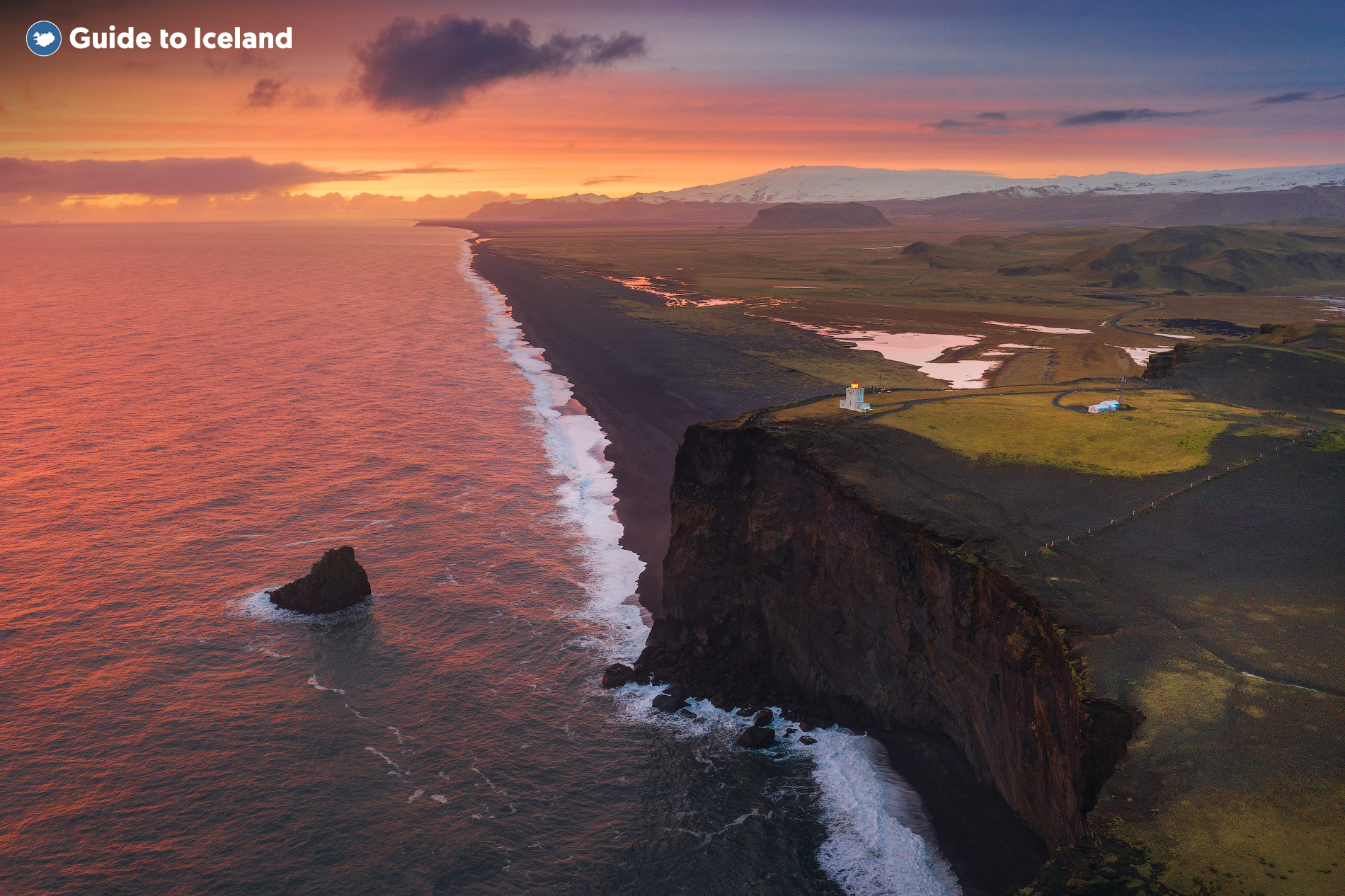 The black sand beach in the South Iceland