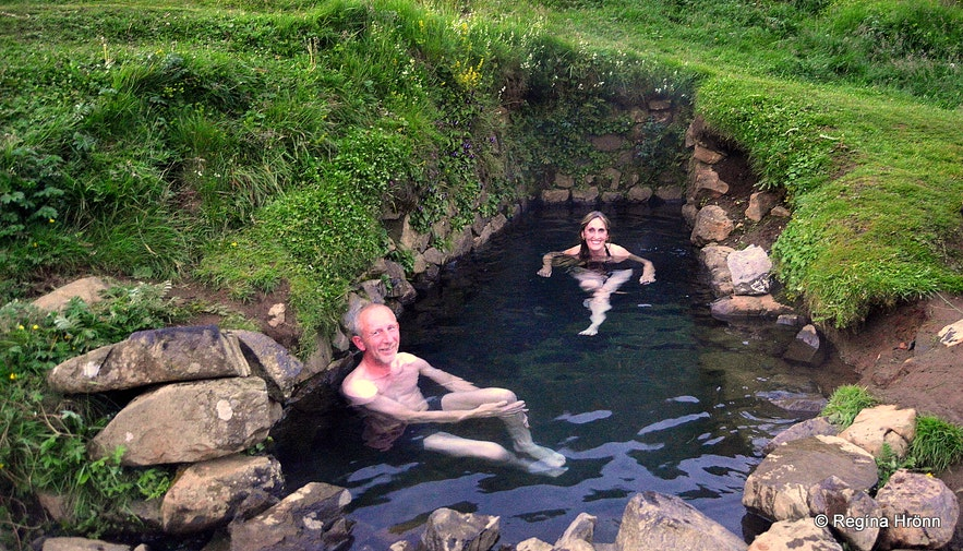 Regína in Hrunalaug Natural Hot Pool in South Iceland -